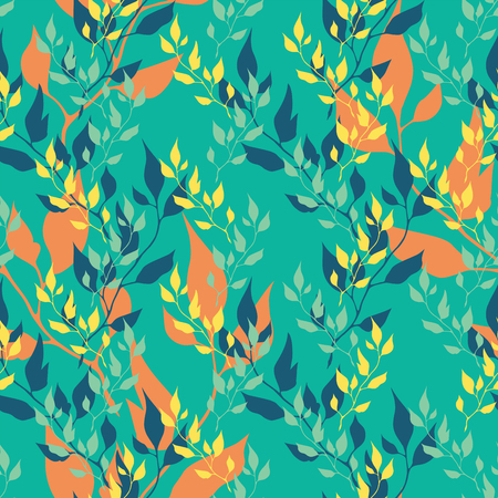 olive leaves: Seamless green pattern with olive leaves