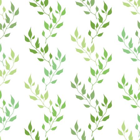 Seamless green pattern with olive leaves Ilustração Vetorial