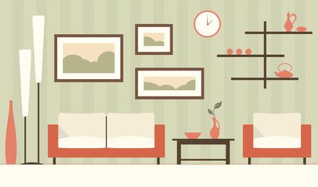 modern living room: Vector green interior of cartoon minimalistic modern living room. Illustration