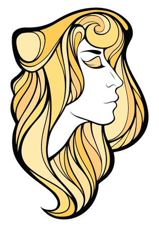 blondie: Vector decorative portrait of shaman blondie girl with long golden hair isolated on white background.