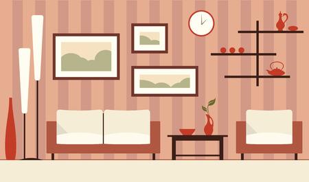 modern living room: Vector brown interior illustration of cartoon minimalistic modern living room.