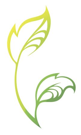 liana: stylized silhouette of spring green tree leaf isolated on white background.
