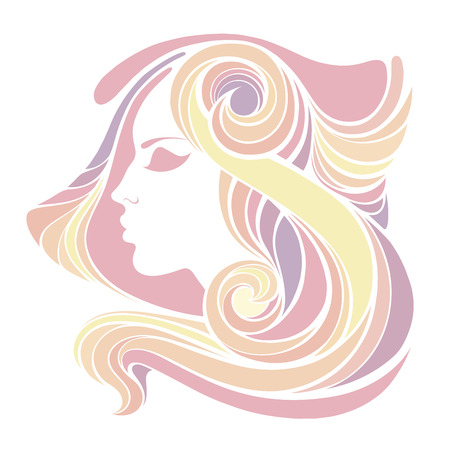 ethnical: decorative portrait of shaman girl with color pink long hair isolated on white background.