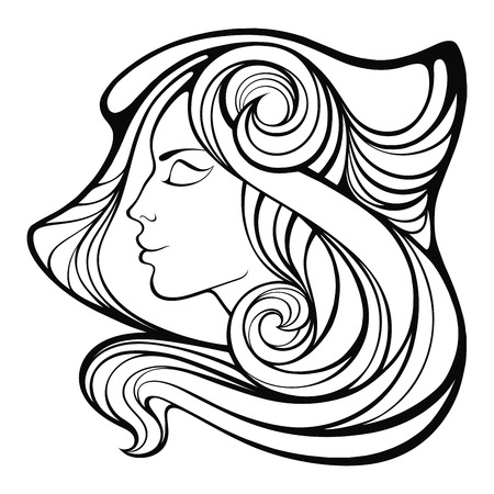 ethnical: decorative portrait of shaman girl with r long hair isolated on white background. Illustration
