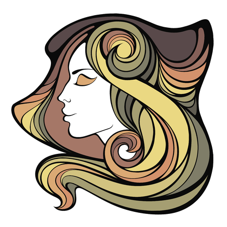 decorative portrait of shaman girl with color long hair isolated on white background.