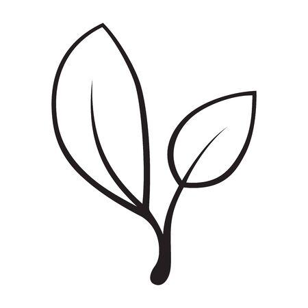 Vector gestileerd silhouet van het blad van de de lenteboom die op witte achtergrond wordt geïsoleerd. Ecoteken, aardetiket. Decoratief element voor medische, ecologische merken.