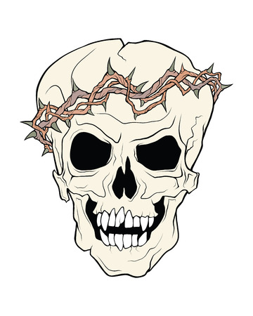 The skull of a grinning vampire in thorns wreath . Vector color illustration of a tattoo style isolated on a white background. 일러스트