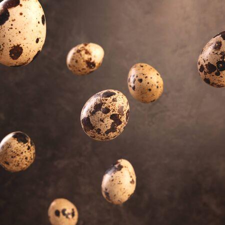 Quail egg flying on dark brown backdrop.