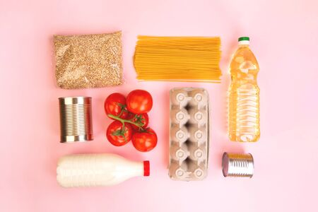 Food packaging. Quarantine food delivery home. Flatlay with copyspace. Stock Photo