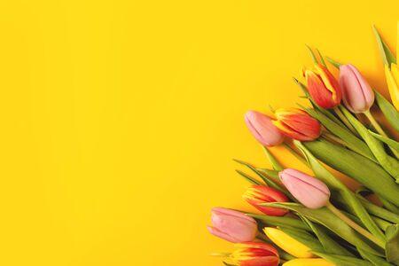 Banner with a bouquet of tulips on an yellow background. Flat lay, top view with copyspace. International Women's Day, spring concept.