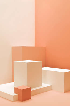 Abstract composition of geometric shapes. Empty pedestals for presentation. Minimalistic 3D render in coral shades. Mockup.