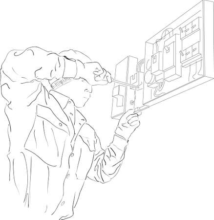electrician: A line art of an electrician working