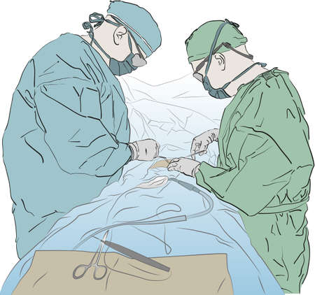 practitioners: A flat colour version of 2 surgeons working on a patient.