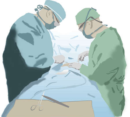 practitioners: An aquarelle version of 2 surgeons working on a patient. Illustration