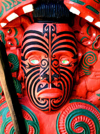 Maori Warrior Carving, New Zealand photo