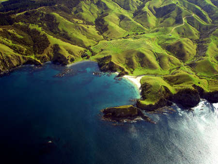 zealand: Wrinkled Green Appearance of Hills and Mountains along the coastline of Northland, New Zealand