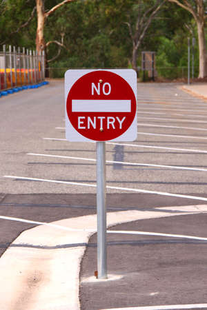 Reflective No Entry Sign in Outdoor Carpark