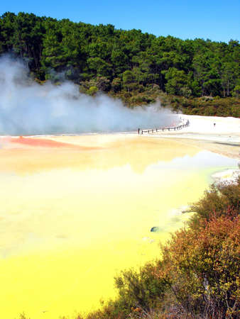 pallette: Geothermal Activity of the Artists Pallette Pool, Waiotapu Thermal Reserve, New Zealand