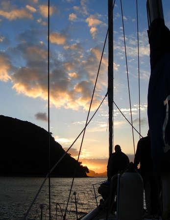 barrier island: Sailing around Great Barrier Island, New Zealand Stock Photo