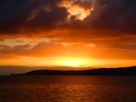 Firey Sunset over Lake Taupo, New Zealand Stock fotó