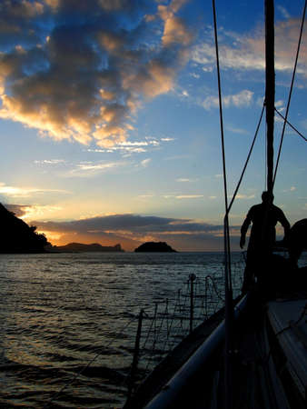 barrier: Sailing around Great Barrier Island, New Zealand Stock Photo