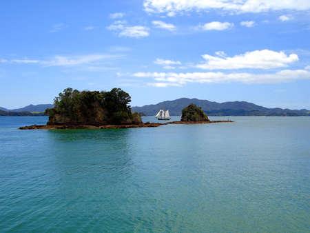 tucker: Tall Ship (R. Tucker Thompson) Sailing through the Bay of Islands, New Zealand