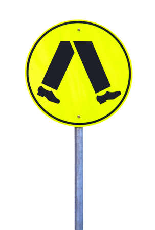 Yellow Reflective Pedestrian Crossing Sign - Current Australian Road Sign. Isolated on White photo