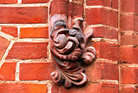 adelaide: Ornate Decorations on Exterior Red Brick Wall. St Andrews Church, Adelaide, Australia Stock Photo