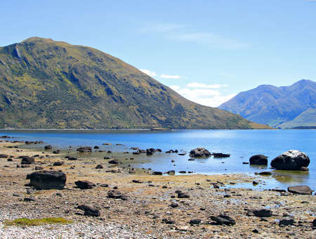 Lake Wanaka near the Clutha River Outlet, New Zealand