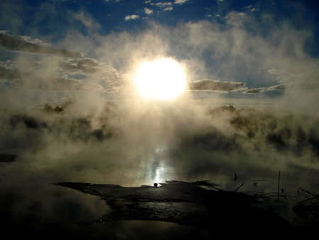 Geothermal activity in Kuirau Park, Rotorua, New Zealand photo