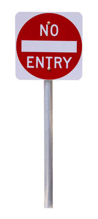 Reflective No Entry Sign - Isolated on White Stock Photo