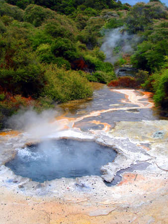 Geothermal Pool, Steam, and Minerals. Waimangu, Rotorua, New Zealand