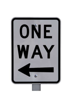 Reflective Sign One Way avec Arrow - Australian Current Road Sign. Isolated on White. Banque d'images - 4776720