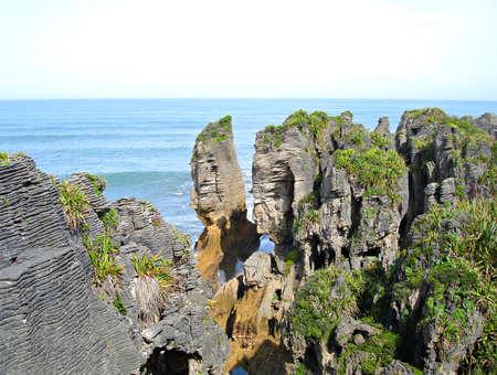 Punakaiki Pancake Rocks and Blowholes, New Zealand Stock fotó
