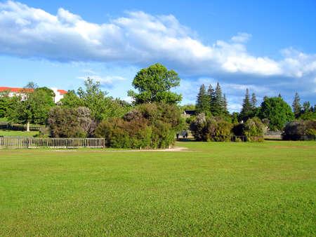 Kuirau Park with safety fencing around Geothermal Activity, Rotorua, New Zealand Banco de Imagens