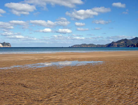 barrier island: Whangapoua Beach at Low Tide, Great Barrier Island, New Zealand Stock Photo