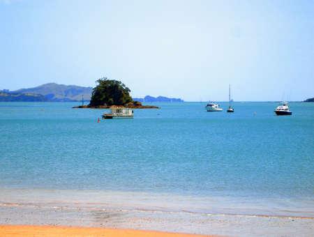 Boats along Paihia Beach, Bay of Islands, New Zealand