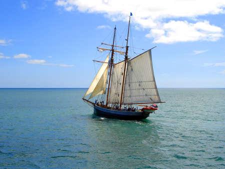 Tall Ship (R.Tucker Thompson) sailing through the Bay of Islands, New Zealand