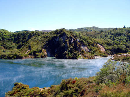 hydrothermal: Geothermal Vents And Stream At Waimangu, Rotorua, New Zealand Stock Photo