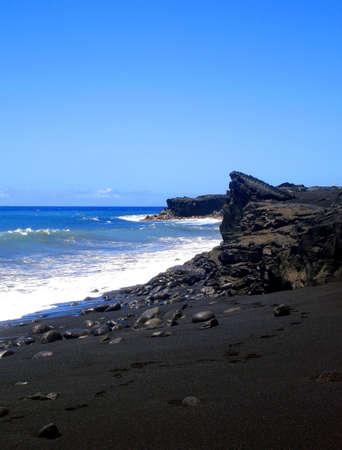 Footsteps along Kaimu Black Sand Beach, The Big Island, Hawaii Stock Photo - 4829929