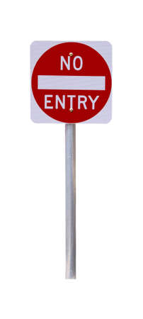 Reflective No Entry Sign - Isolated on White - Australian Stock Photo - 4848588