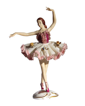 figurines: Antique Dresden Lace Porcelain Ballerina Figurine, isolated on white