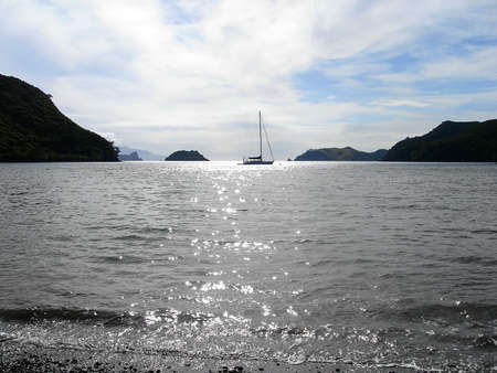 barrier island: Sailing Yacht at Rest, Great Barrier Island, New Zealand