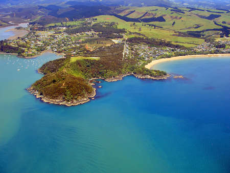 Aerial view of Northland Coastline with Mill Bay and Mangonui on the Left and Coopers Beach on the Right. New Zealand Stock fotó