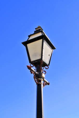 lamp post: Ornate Lamp Post with modern lighting inside