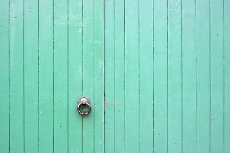 Large Green Wooden Gates with Metal Handle