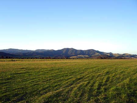 countryside landscape: Okiwi Airport Runway, Okiwi, Great Barrier Island, New Zealand Stock Photo