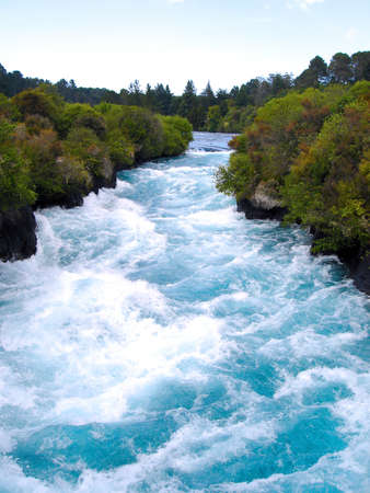 upstream: Looking Upstream at the Waikato River in the narrow canyon before Huka Falls, New Zealand