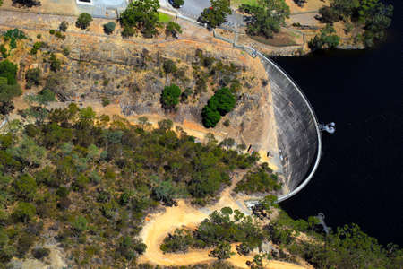Aerial view of Whispering Wall, Barossa Reservoir, Adelaide, South Australia. Whisperings on one side of the wall can be clearly heard on the other.