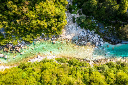 Beautiful Soca River in Slovenia europe. Aerial Shot of the Valley. Mountains, River, Forest.
